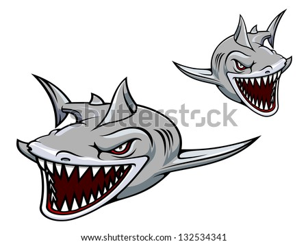 Danger gray shark with sharp teeth. Vector illustration for sport team mascot. Jpeg (bitmap) version also available in gallery - stock vector