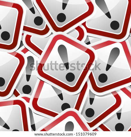 Danger, hazard sign, icon sticker style collection with shadow. - stock vector