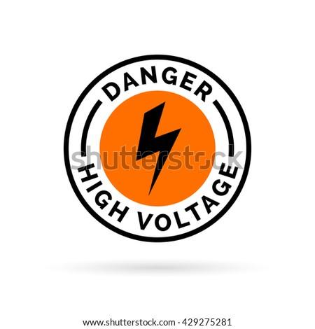 Danger high voltage sign. Electrical hazard icon badge. Caution electric shock symbol. Black electric bolt icon on orange circle background. Vector illustration. - stock vector