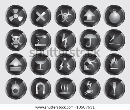danger icons - stock vector