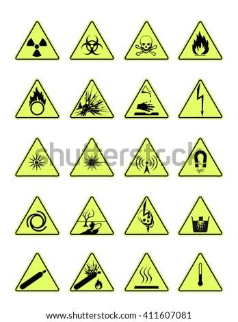 danger icons - stock vector