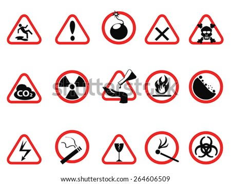 danger icons set, Triangular and circle Warning Hazard Signs - stock vector