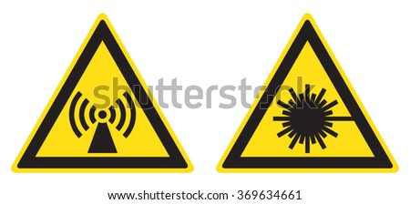 Danger laser radiation, attention electromagnetic field signs (eps 10) - stock vector