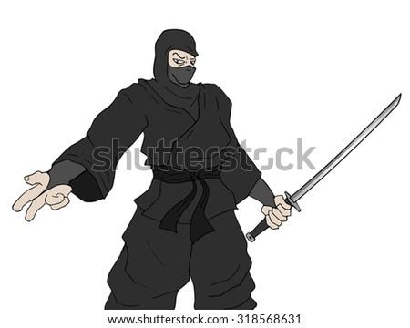 danger ninja - stock vector
