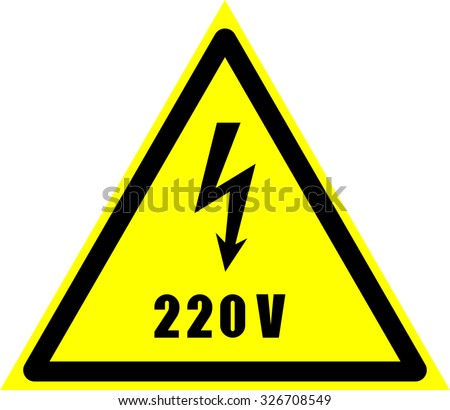 danger of defeat by an electric current, high voltage, 220 volt - stock vector