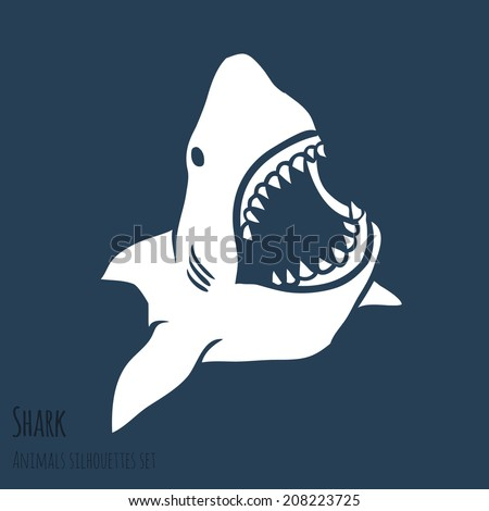 Danger Shark silhouettes in the deep blue set. Vector - stock vector