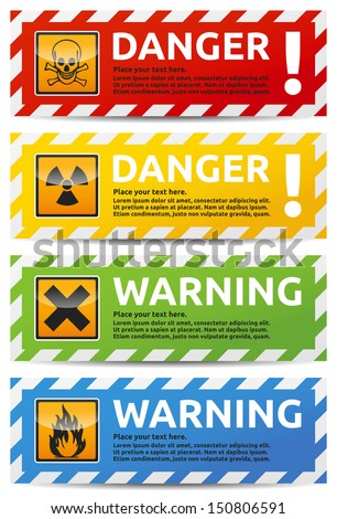 Danger sign banner with warning text. Isolated, multicolor version on white background. - stock vector
