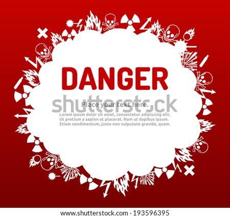 Danger sign set in cloud banner for your text. Hazard symbol template. - stock vector