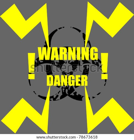 Danger sign with abstract thunder and bio-hazard sign - stock vector