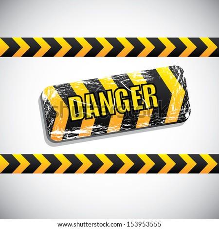 danger signal over gray background  vector illustration - stock vector