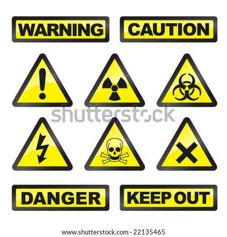Danger signals gray and yellow on a white background