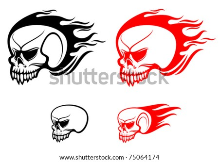 Danger skulls with flames as a warning or evil concept. Jpeg version also available in gallery - stock vector