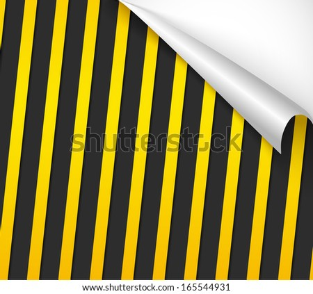 Danger tapes on dark background. Curved paper with shadow. Vector illustration. - stock vector