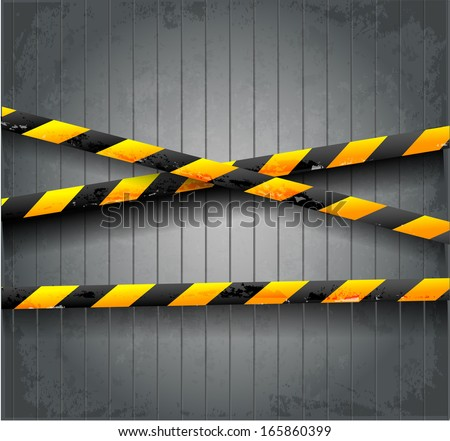 Danger tapes on dark grunge background. Vector illustration.