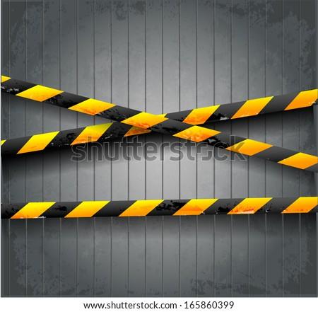 Danger tapes on dark grunge background. Vector illustration.  - stock vector