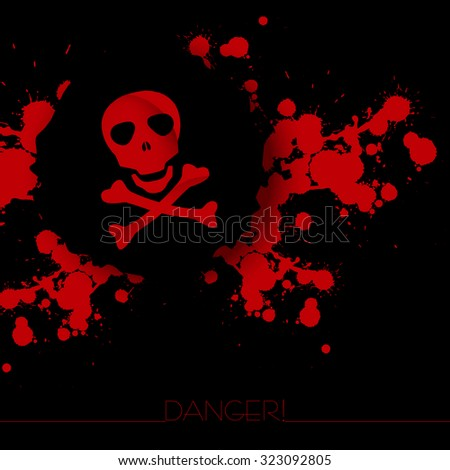 Danger warning background with abstract blots and skull with bones. - stock vector
