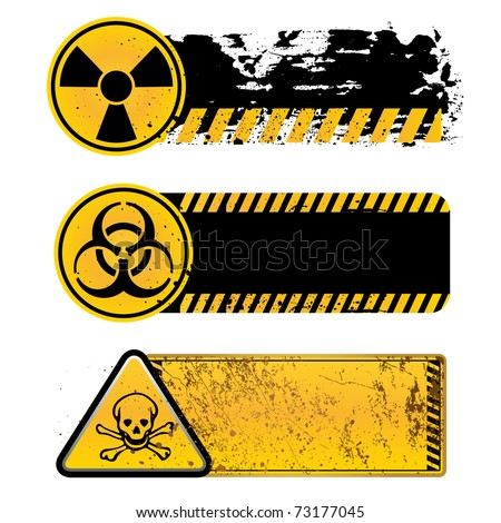 danger warning-nuclear,biohazard,toxic substance - stock vector