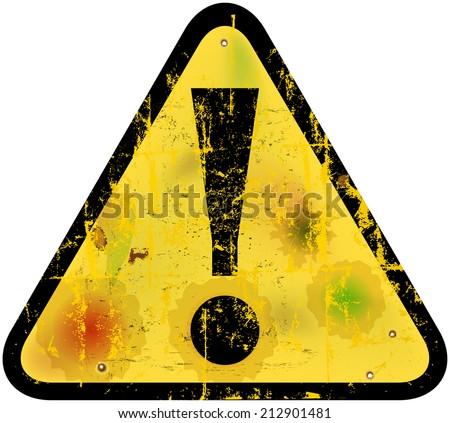 Danger warning sign w. exclamation mark, vector illustration - stock vector