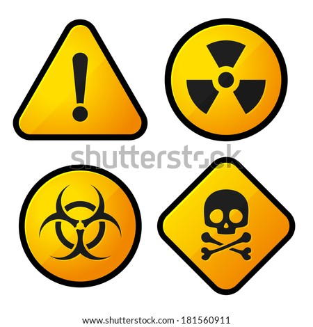 Danger Yellow Sign Icons Set - stock vector