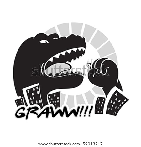 Dangerous black and white Godzilla-like monster in the city - stock vector