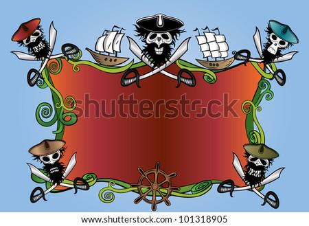 dangerous ocean pirate frame design - stock vector