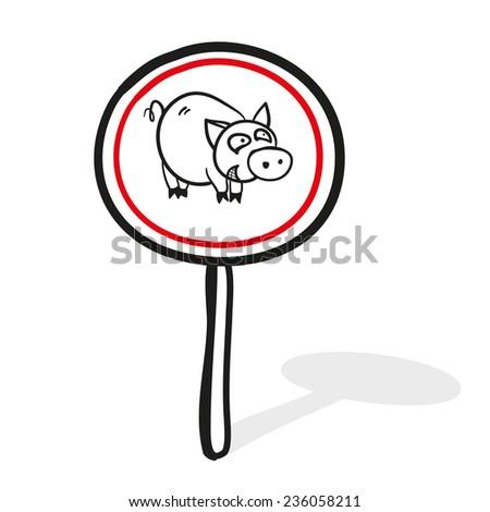 Dangerous pig. Road sign. A children's sketch - stock vector