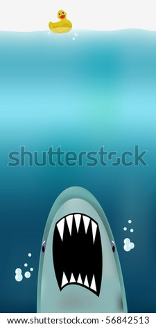 Dangerous threat from shark attacking from the abyss, unknowing rubber duck bobble on the waves - stock vector