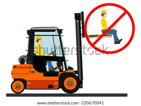 Dangers of working with a forklift truck. Vector illustration without gradients on one layer.  - stock vector