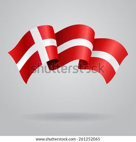 Danish waving Flag. Vector illustration Eps 8. - stock vector