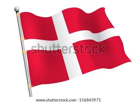 Dannebrog - Denmark civil and state flag - stock vector