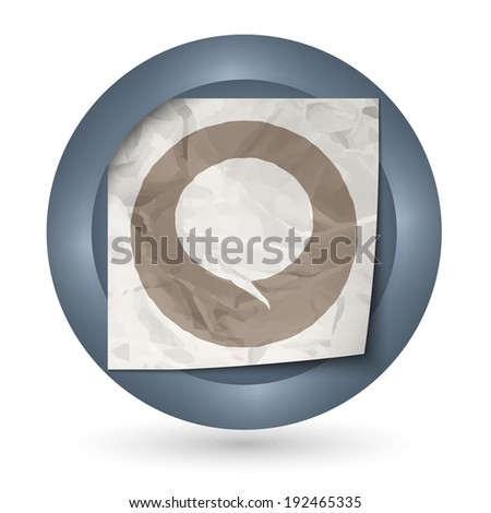 dark abstract icon with crumpled paper and speech bubble
