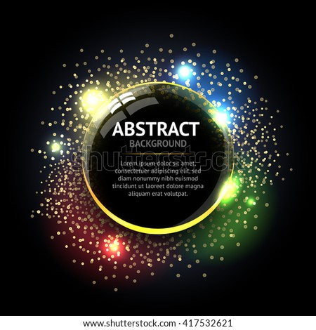 Dark Abstract ring background. Metal chrome shine round frame with light circles and spark light effect. Vector sparkling glowing stainless steel cover. Space for your message. - stock vector