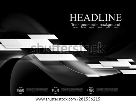 Dark abstract tech wavy background. Geometric vector design - stock vector