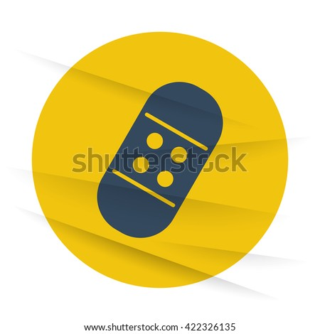 Dark Adhesive Bandage icon label on wrinkled paper - stock vector
