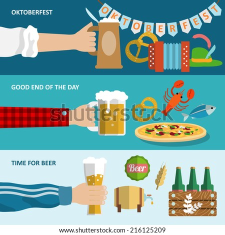 Dark and light beer Oktoberfest horizontal banners set isolated vector illustration. - stock vector