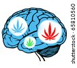 dark and light blue human brain with sign of marijuana - stock photo