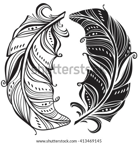 Dark and light feathers. Yin and yang concept - stock vector