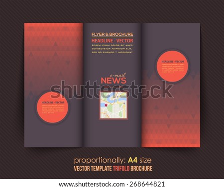 Dark and Red Style Vector Tri-Fold Brochure Design. Corporate Leaflet, Cover Template - stock vector