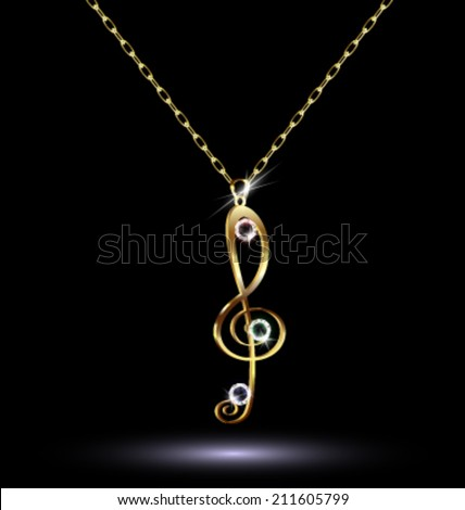 dark background and jewelry chains and pendant-a treble clef - stock vector