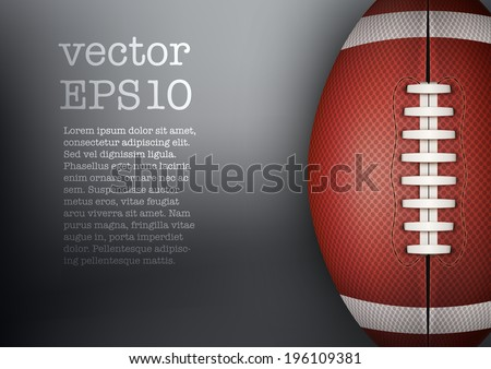 Dark Background of American Football and rugby sports. Theme of list and schedule of players and statistics. Realistic Vector Illustration. - stock vector