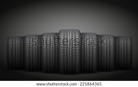 Dark Background of Realistic rubber tires banner. Front view. Vector Illustration. - stock vector