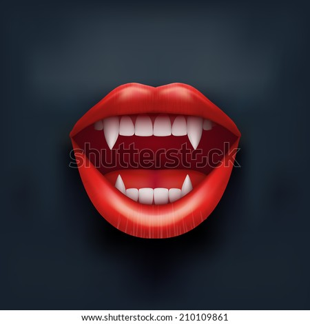 Dark Background of vampire mouth with open red lips and long teeth. Vector Illustration. Isolated on white background. - stock vector