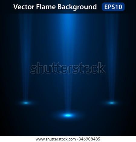 Dark background with bright spotlights, luminous from the floor. - stock vector