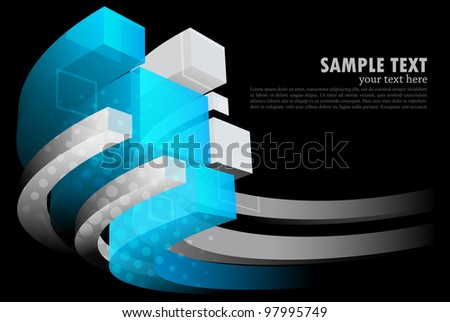 Dark background with 3d element and circle - stock vector