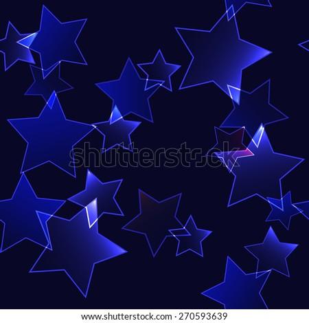 Dark background with dark blue neon stars - seamless background - stock vector