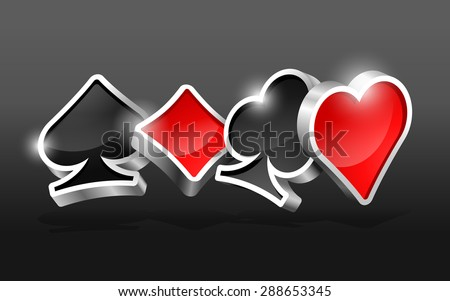 Dark background with glossy 3D cards suits - stock vector