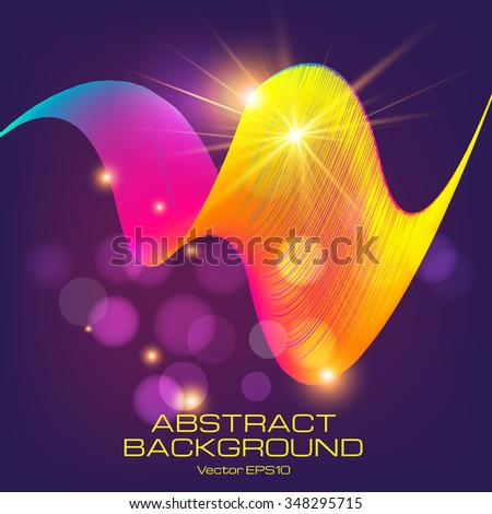 Dark background with glowing  surface of thin lines. Contrasting yellow and purple.  The illustration contains transparency and effects. EPS10  - stock vector
