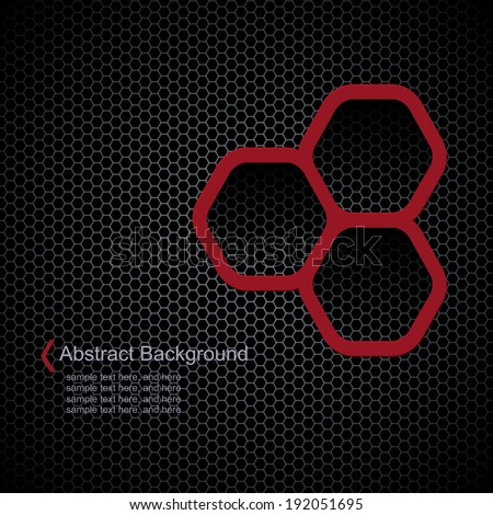 Dark background with hexagons pattern texture, seamless vector background. - stock vector
