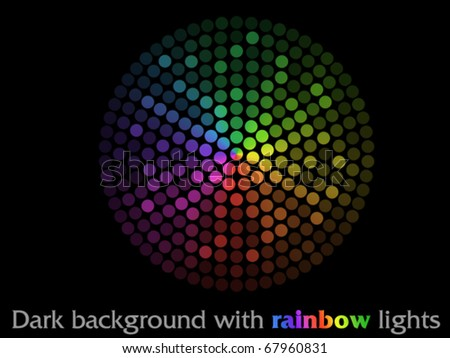 Dark background with rainbow lights in circle - stock vector