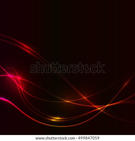 Dark background with red hot fire laser shine glow neon waves.